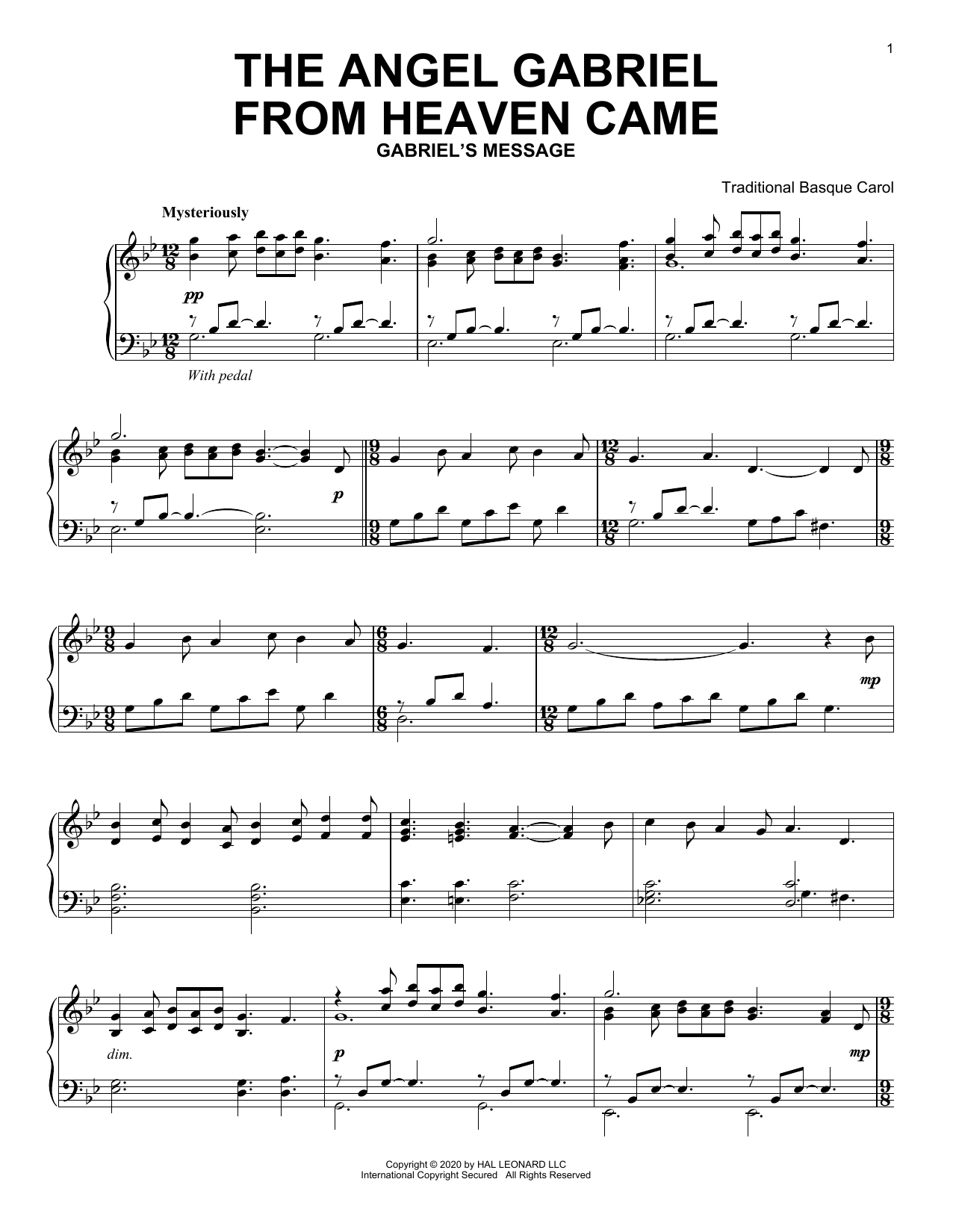 The Angel Gabriel From Heaven Came (Piano Solo)