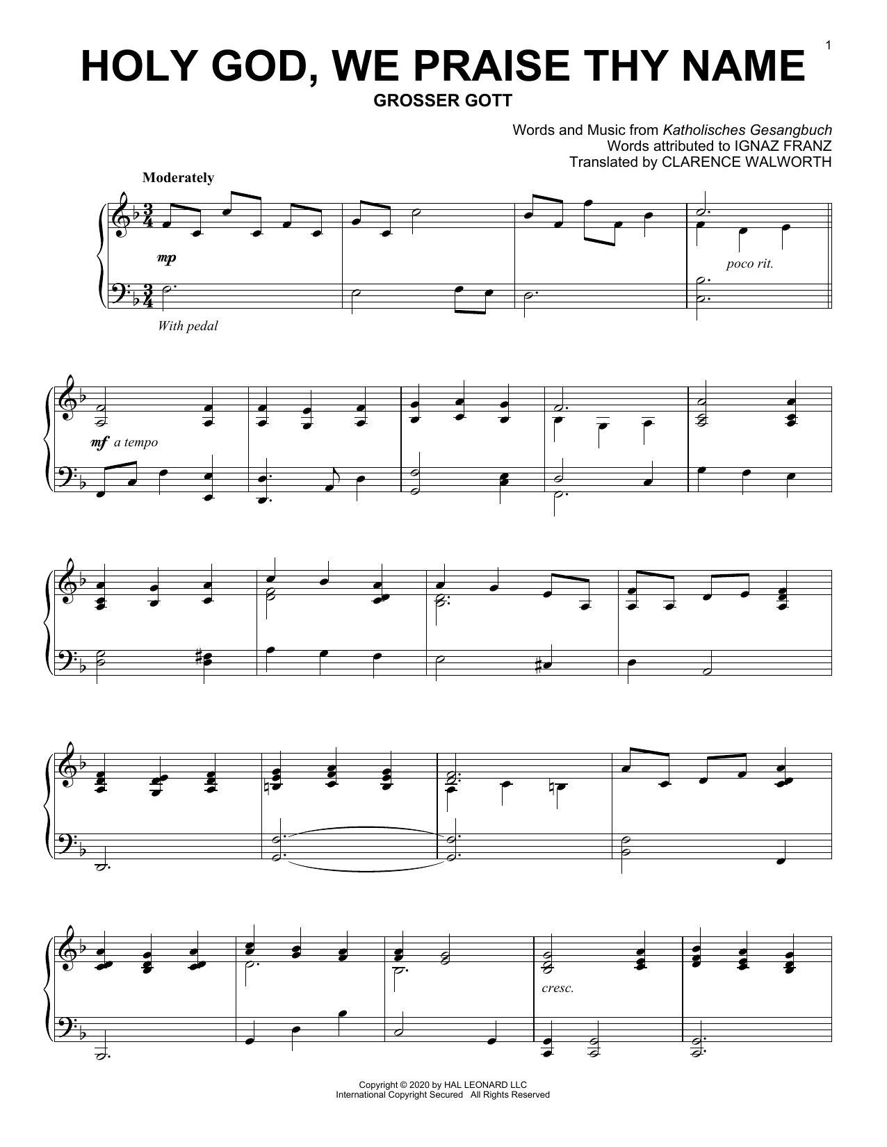 Holy God, We Praise Thy Name (Piano Solo)