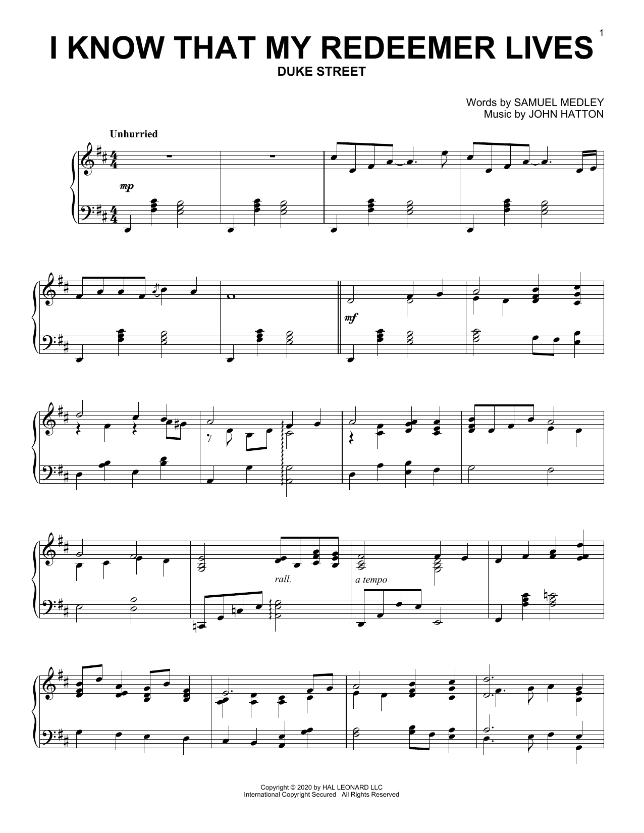 I Know That My Redeemer Lives (Piano Solo)