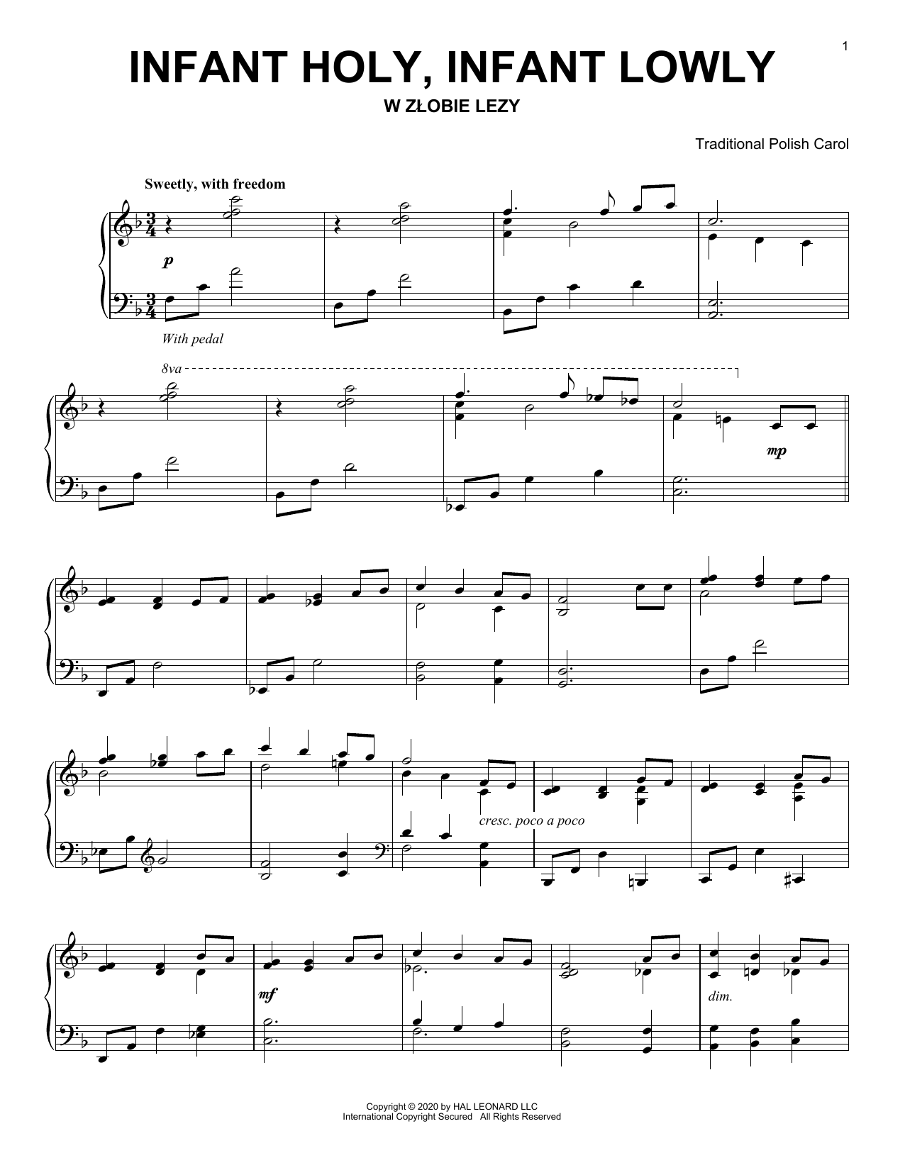 Infant Holy, Infant Lowly (Piano Solo)