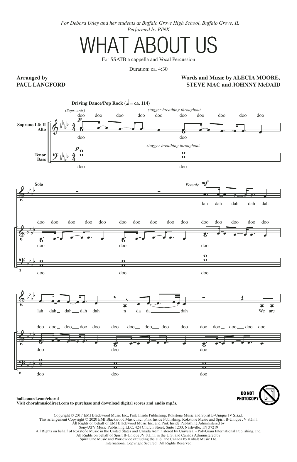 What About Us (arr. Paul Langford) Sheet Music