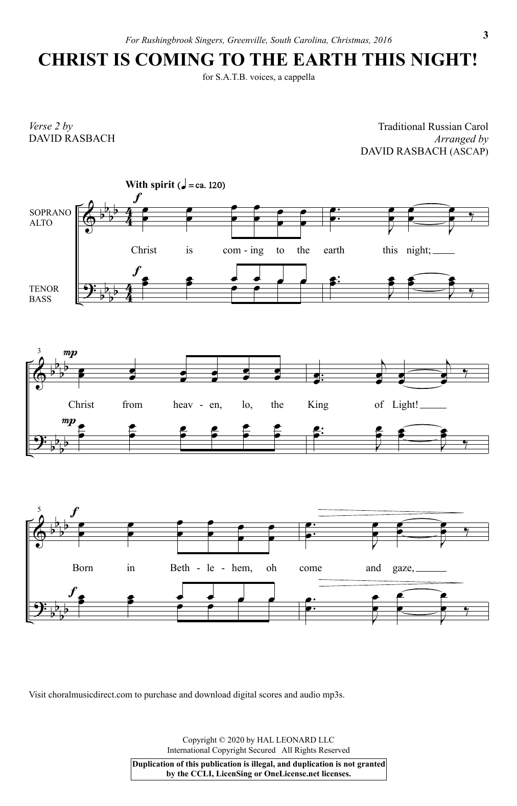 Christ Is Coming To The Earth This Night! (arr. David Rasbach) Sheet Music