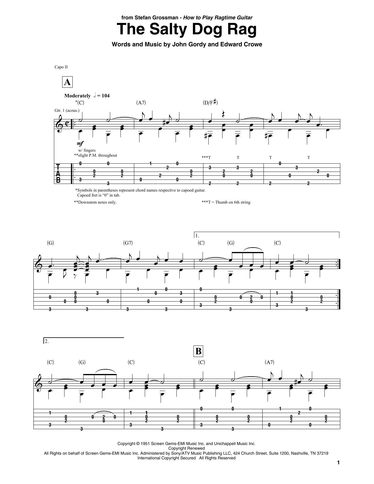The Salty Dog Rag (Solo Guitar Tab)