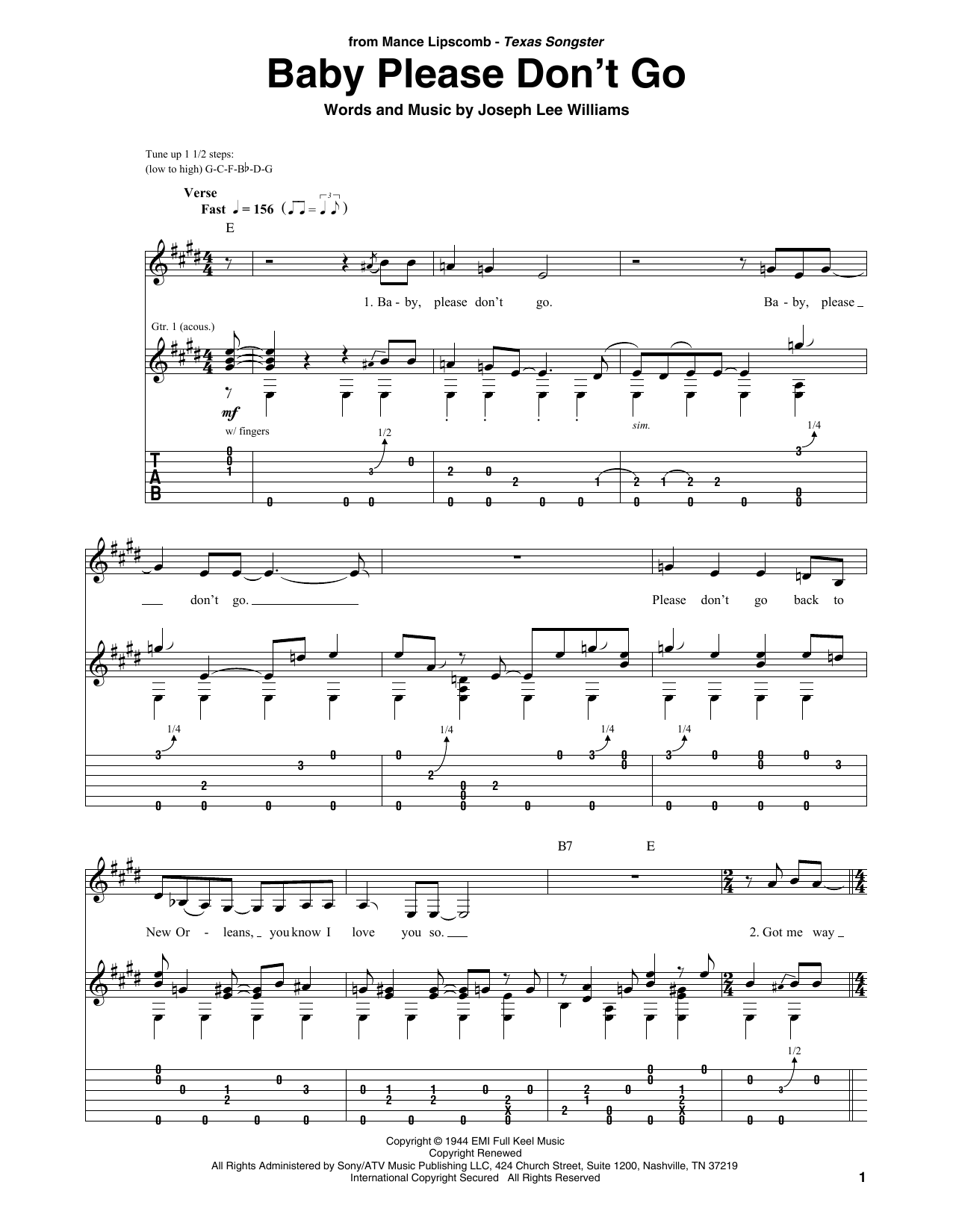 Baby Please Don't Go (Solo Guitar Tab)