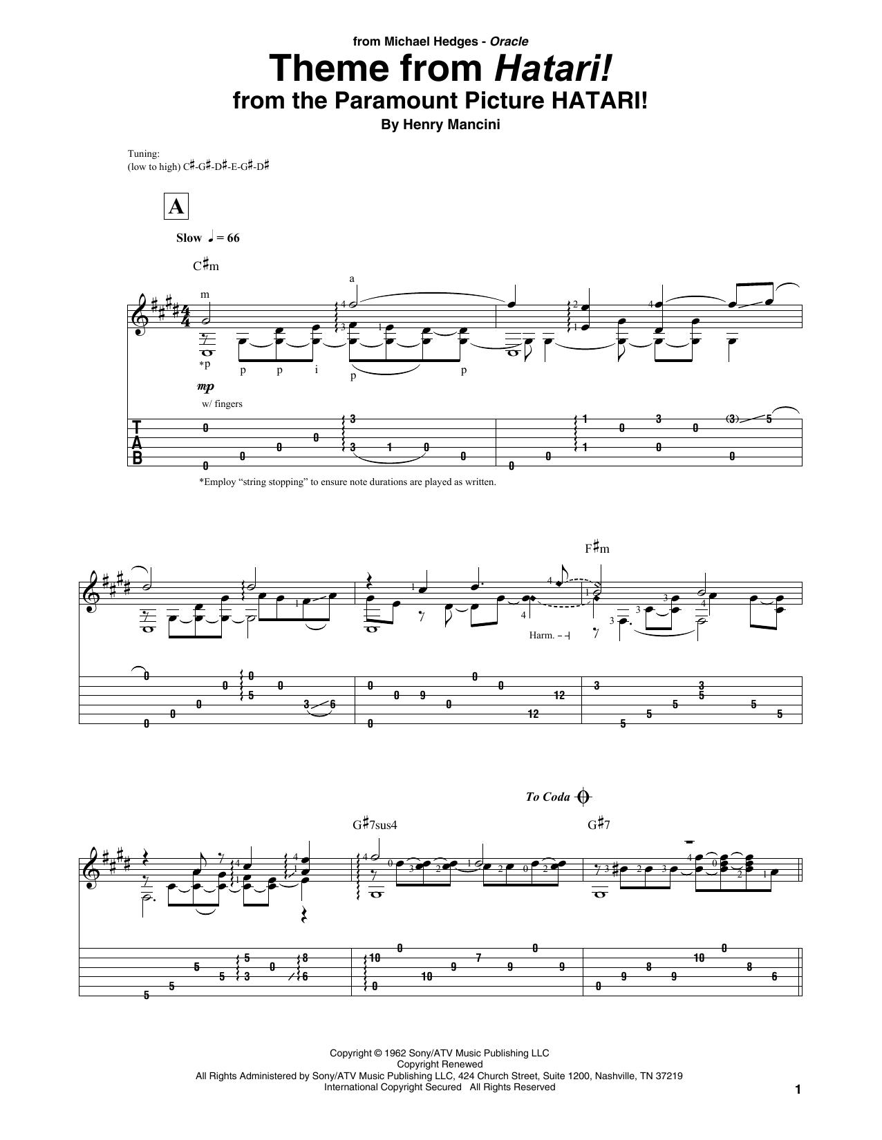 Theme From Hatari! (Solo Guitar Tab)