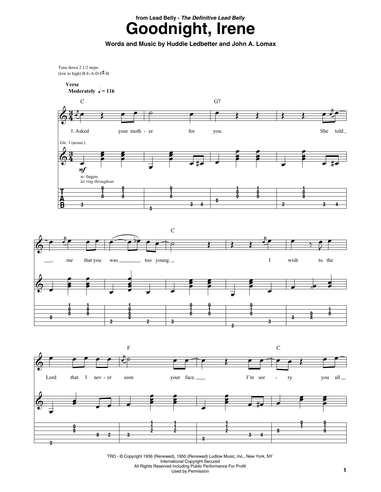 Goodnight, Irene (Solo Guitar Tab)