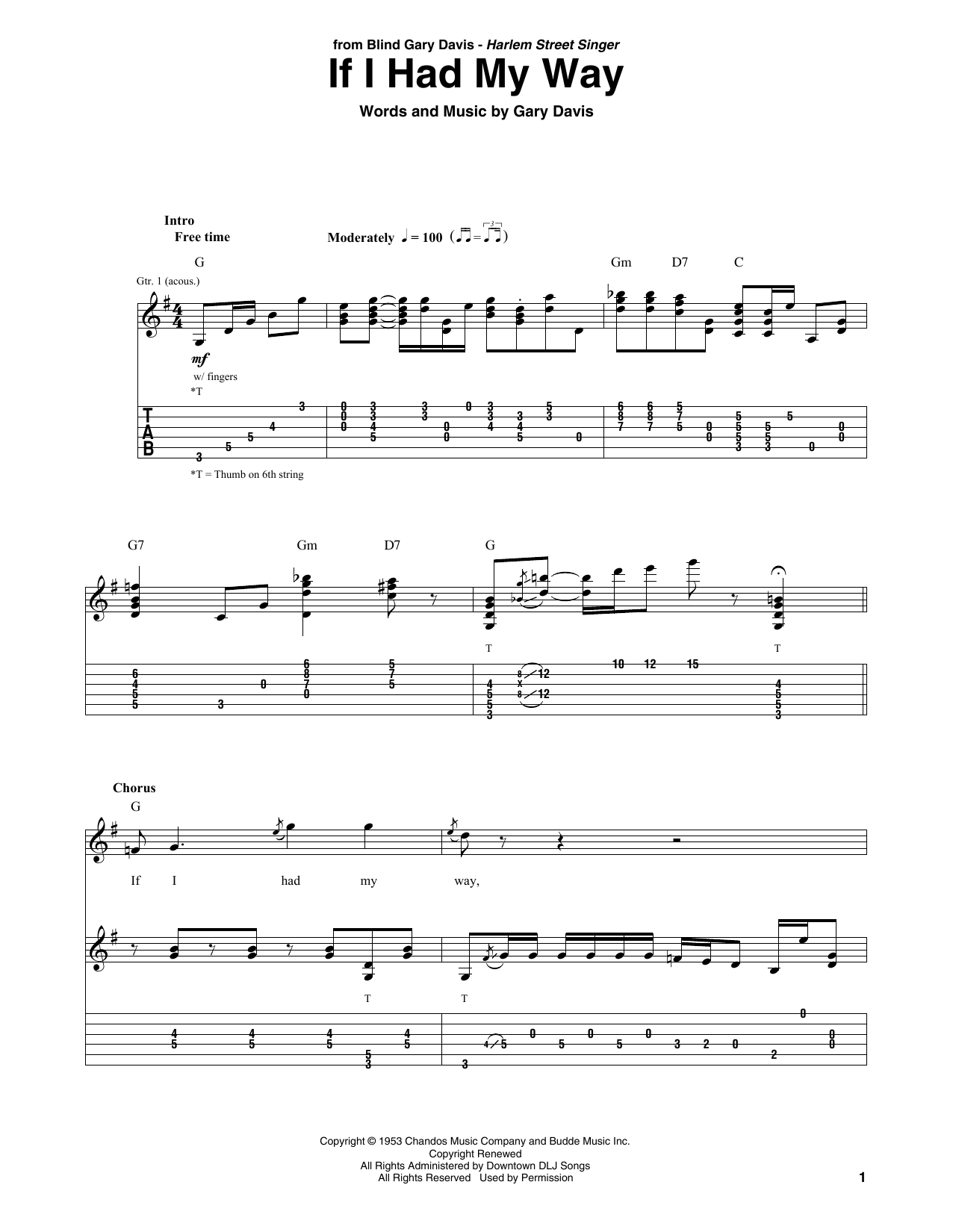 If I Had My Way (Solo Guitar)