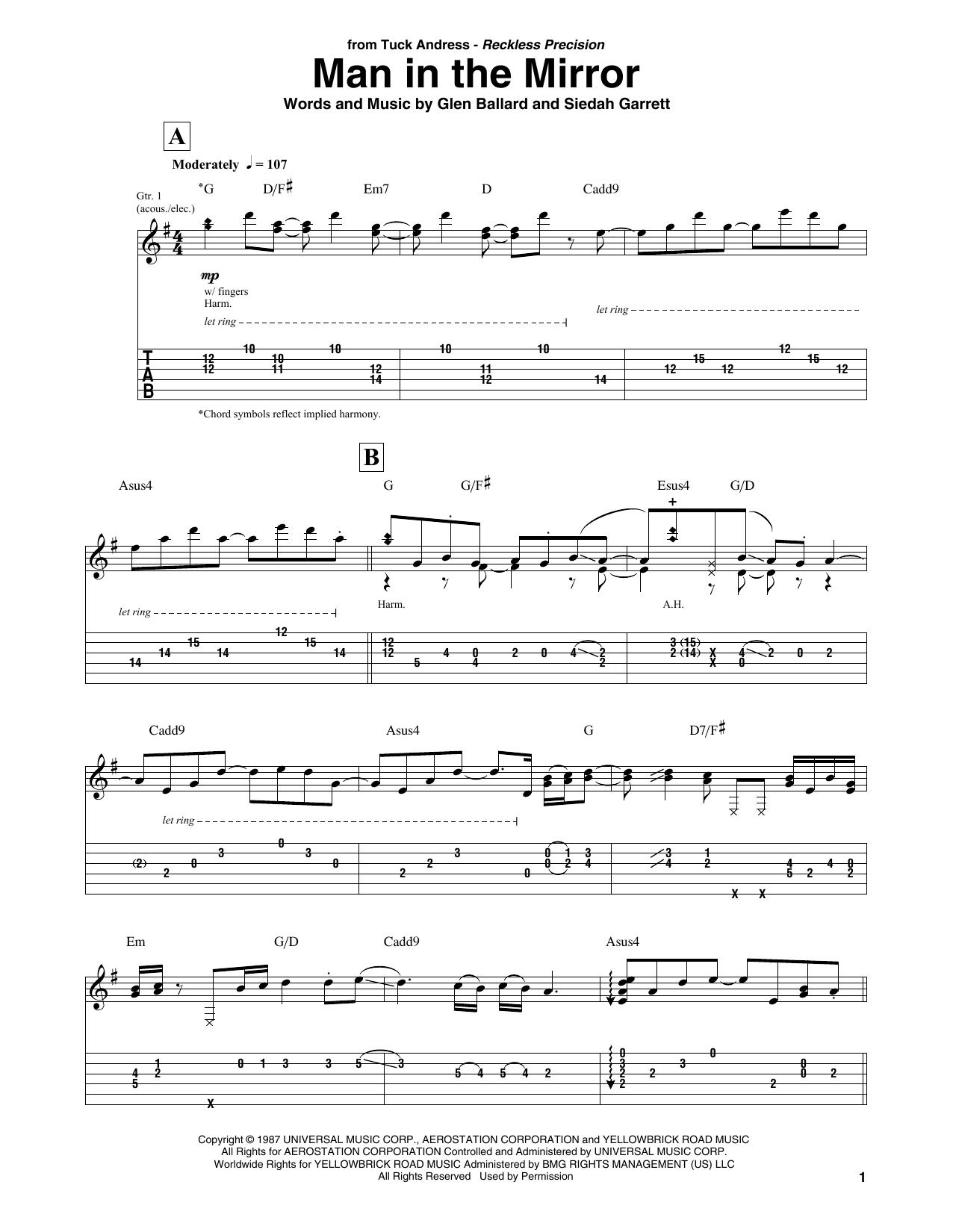 Man In The Mirror (Solo Guitar Tab)