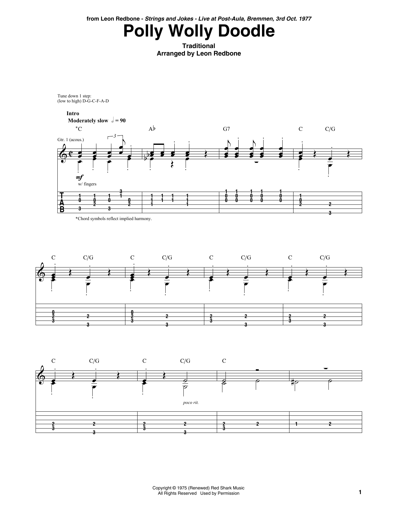 Polly Wolly Doodle (Solo Guitar Tab)