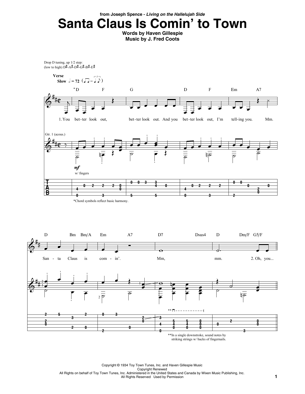 Santa Claus Is Comin' To Town (Solo Guitar Tab)