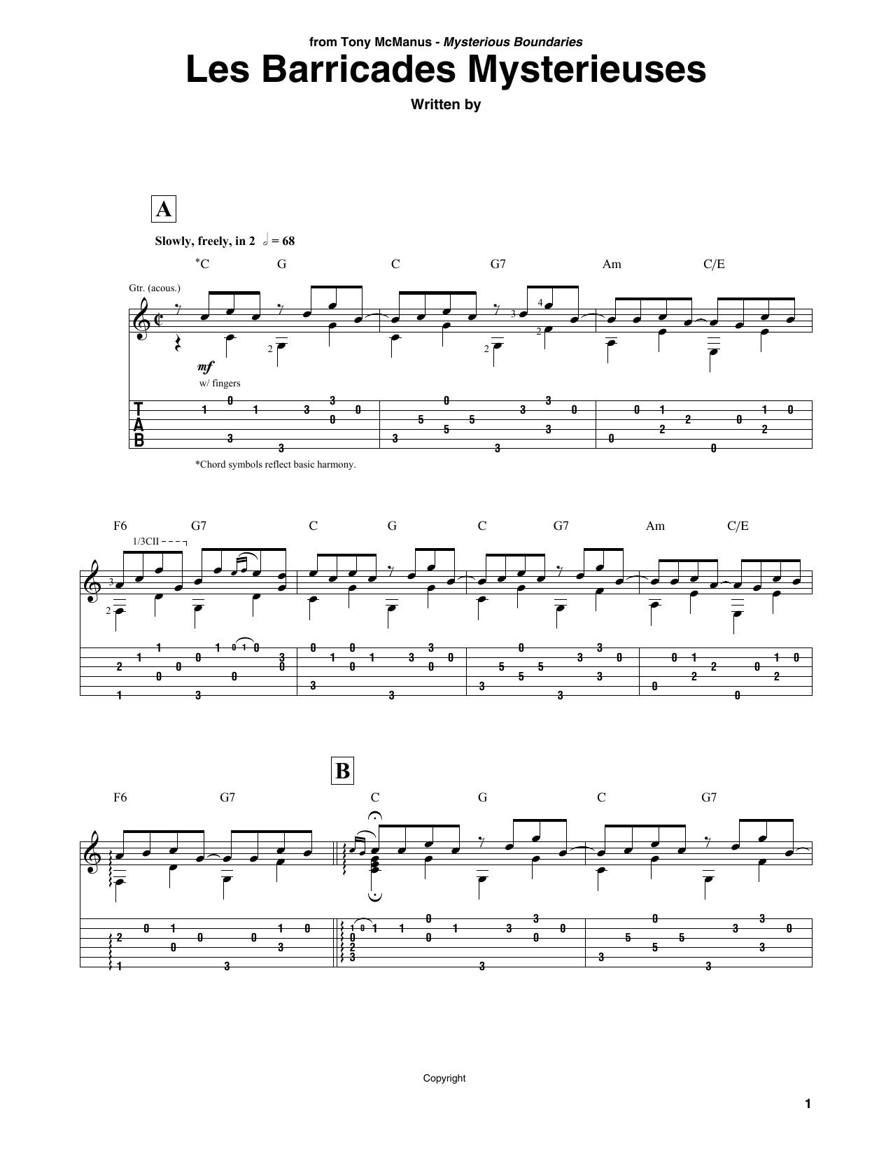 Les Barricades Mysterieuses (Solo Guitar)