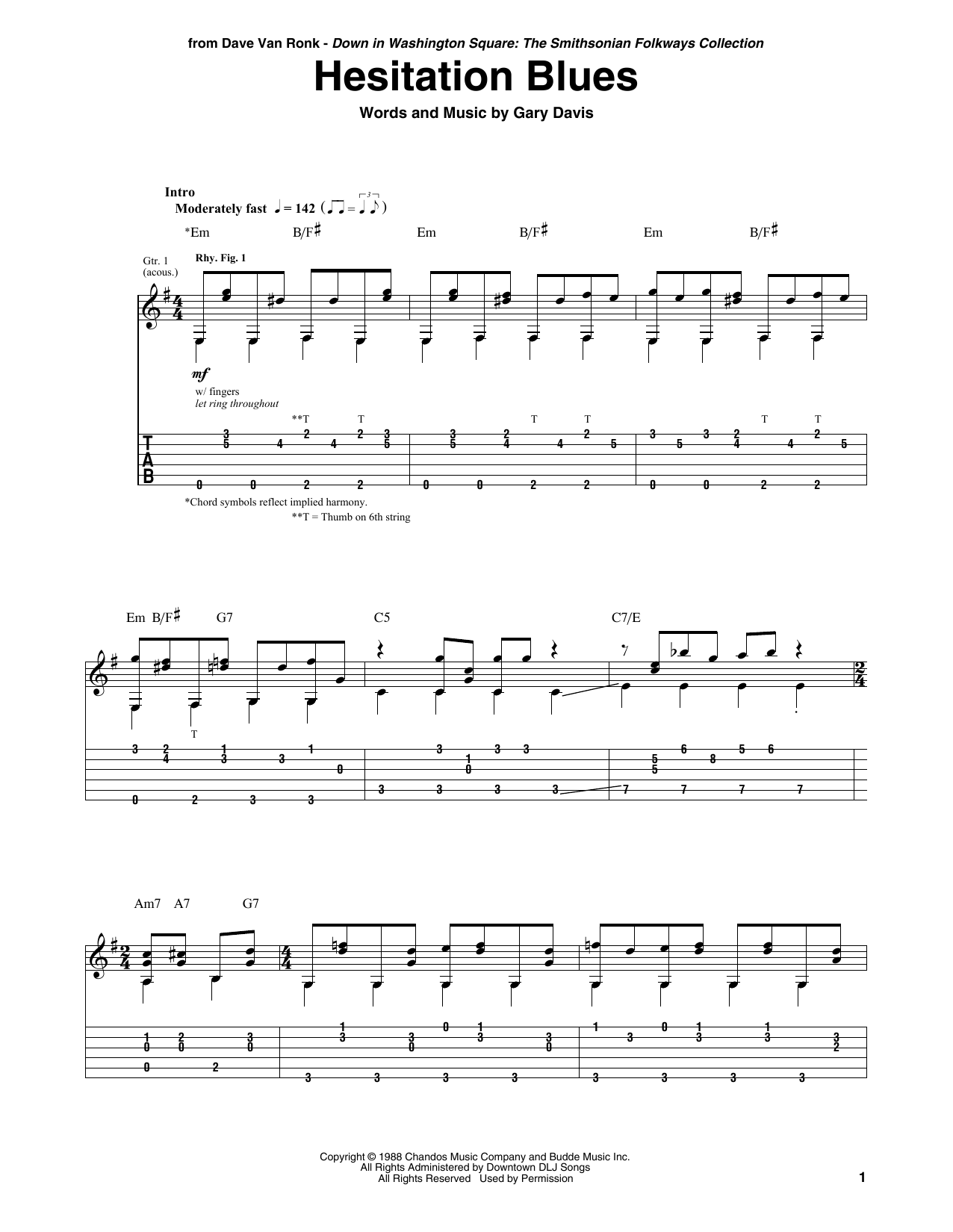 Hesitation Blues Sheet Music