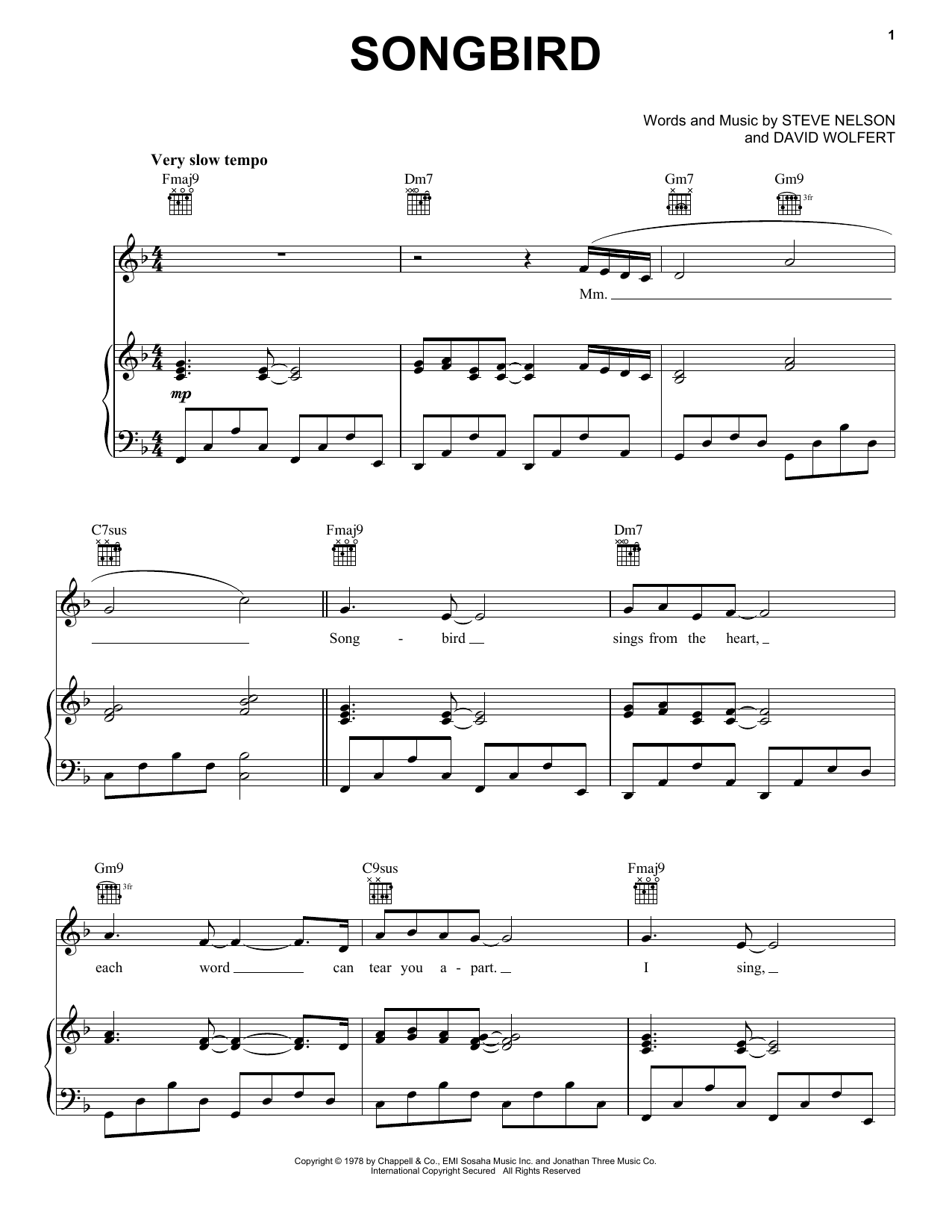 Songbird (Piano, Vocal & Guitar (Right-Hand Melody))