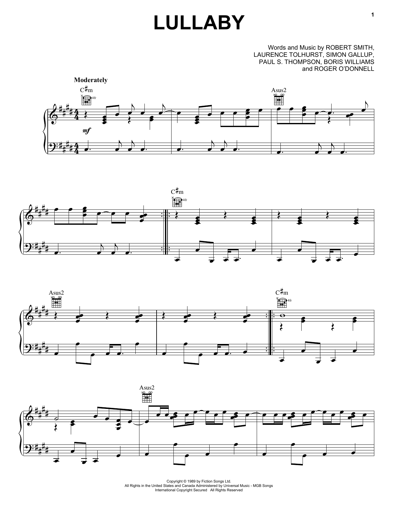 Lullaby (Piano, Vocal & Guitar (Right-Hand Melody))
