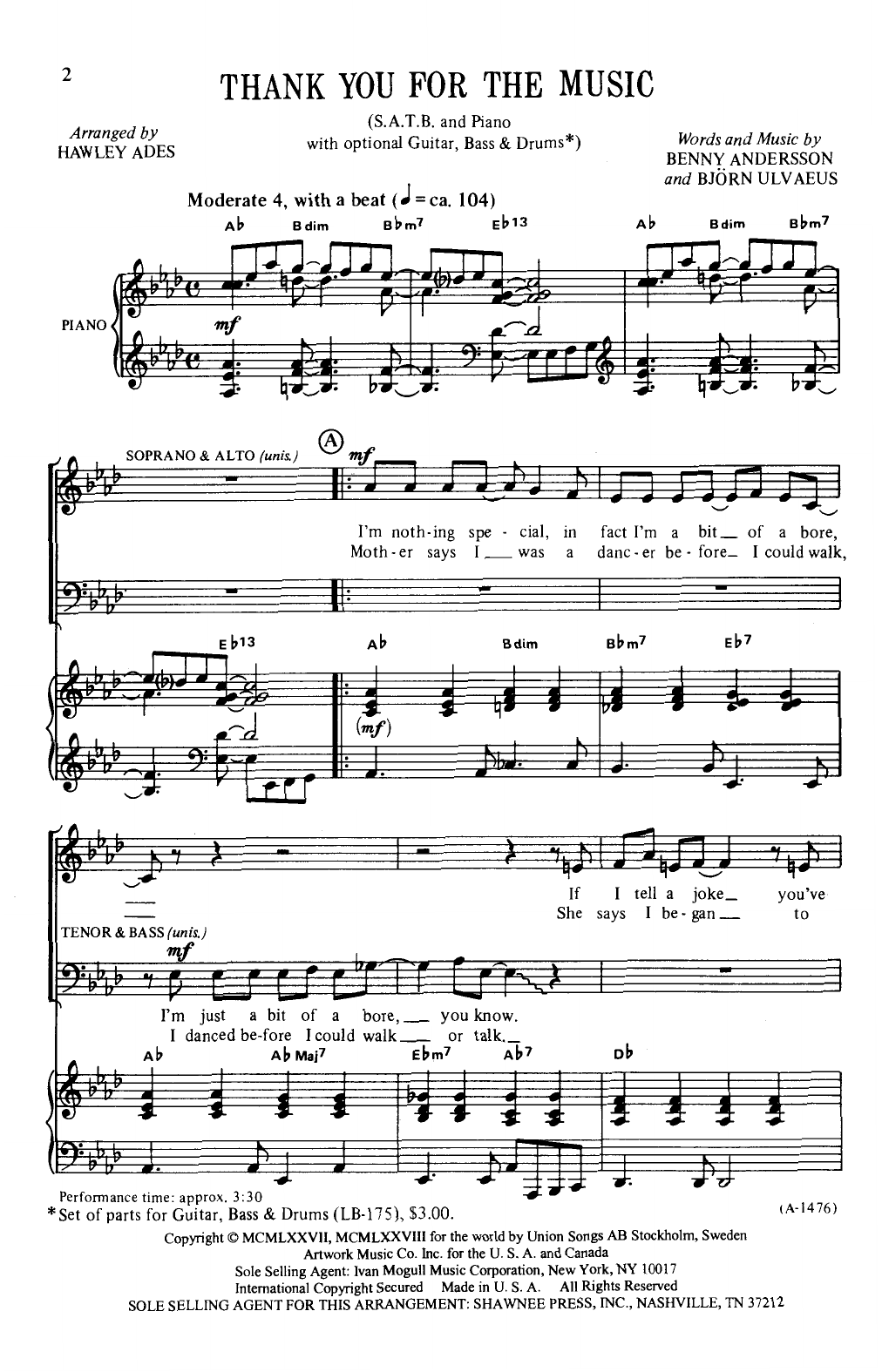 Thank You For The Music (arr. Hawley Ades) Sheet Music