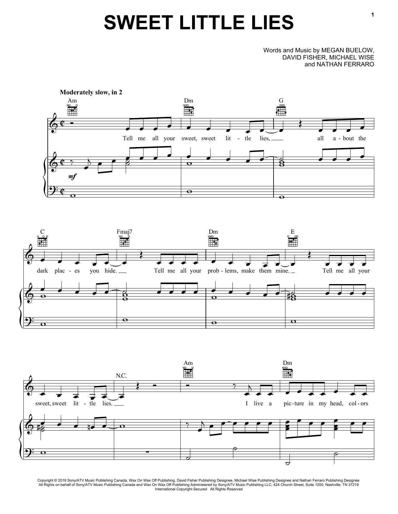 Sweet Little Lies (Piano, Vocal & Guitar (Right-Hand Melody))