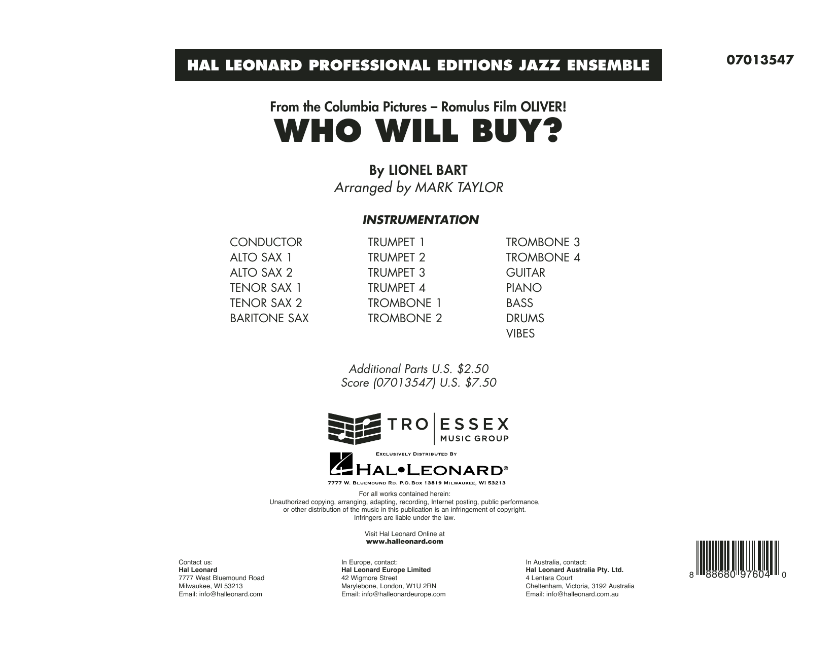 Who Will Buy? (from Oliver) (arr. Mark Taylor) - Conductor Score (Full Score) Sheet Music