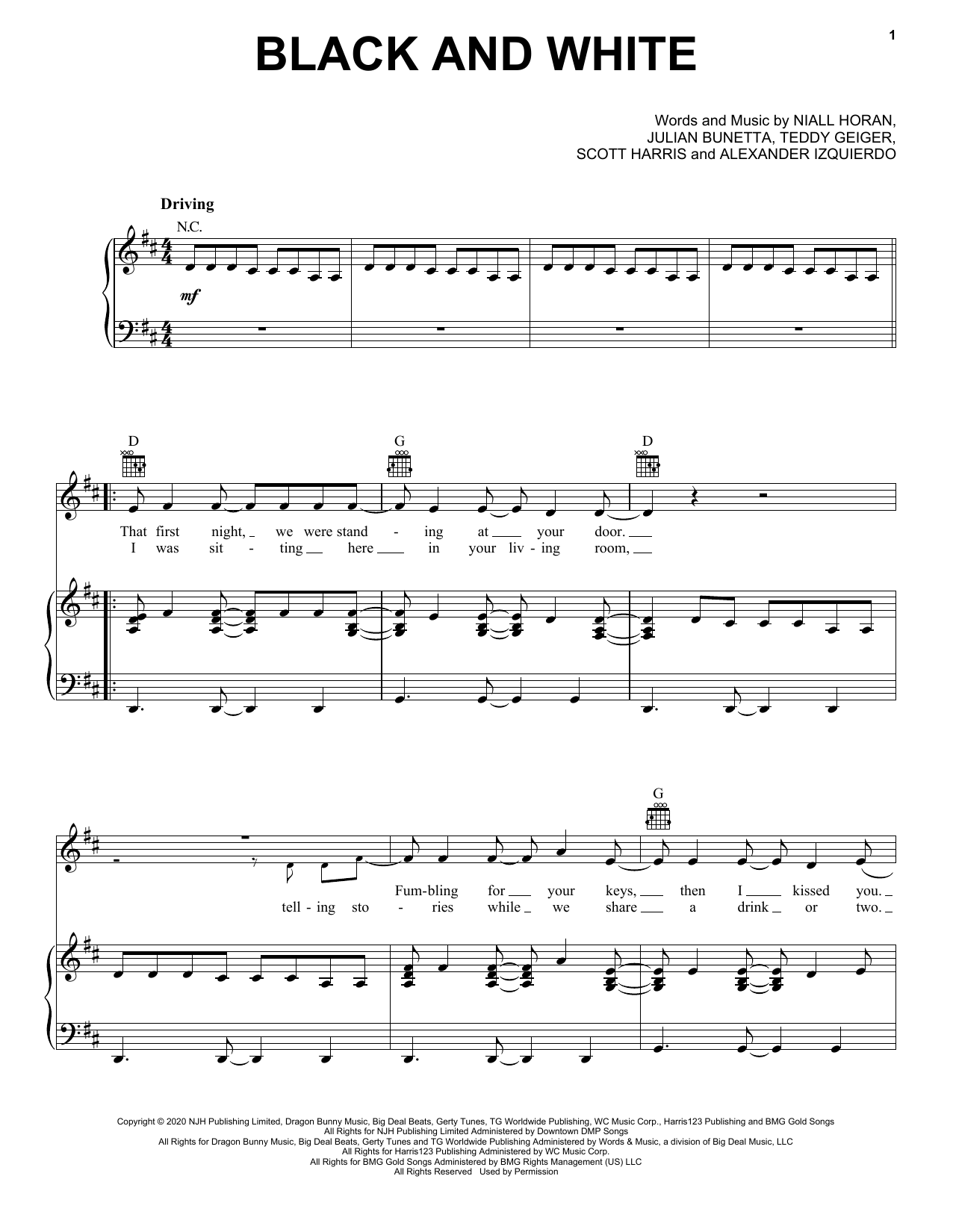 Black And White (Piano, Vocal & Guitar (Right-Hand Melody))