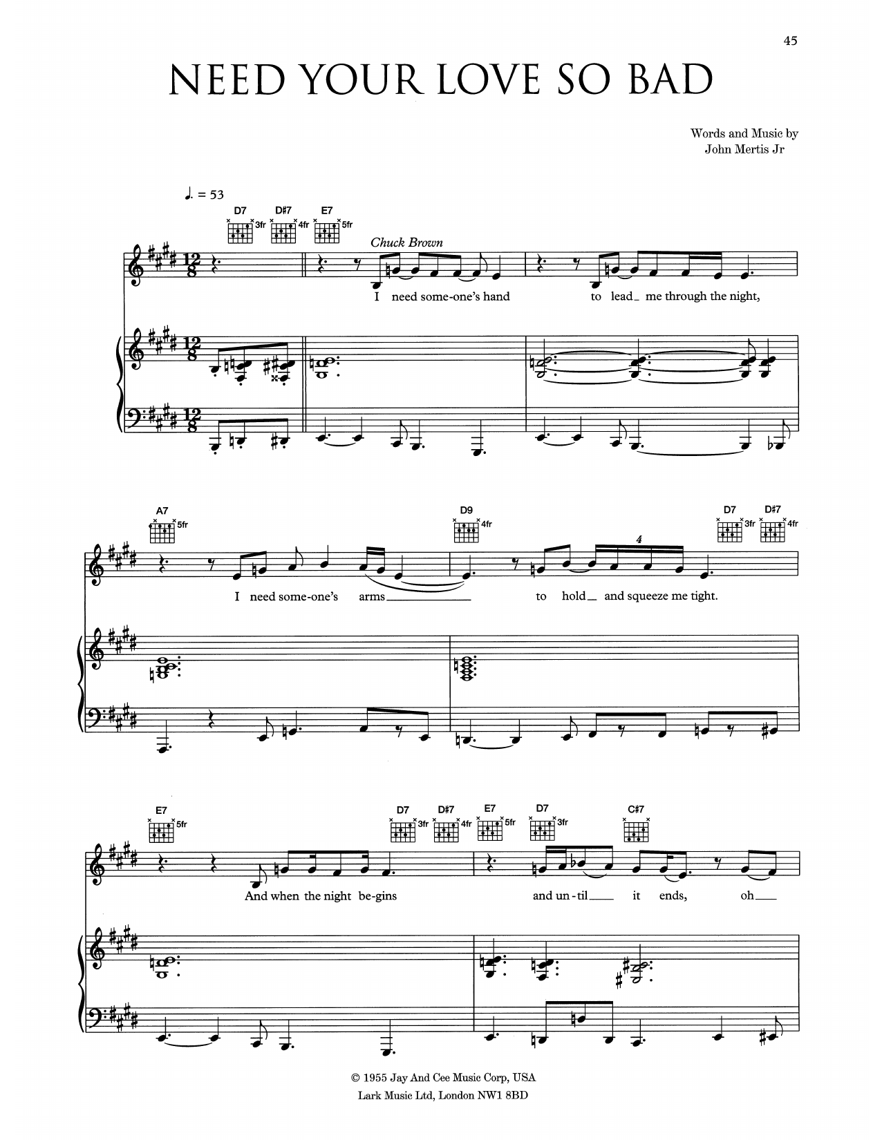 Need Your Love So Bad Sheet Music