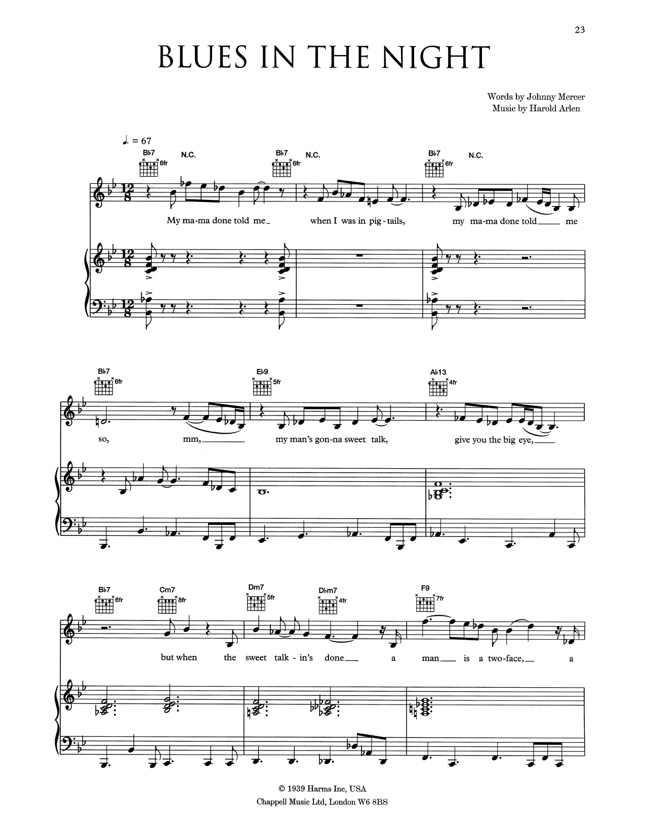 Blues In The Night (Piano, Vocal & Guitar (Right-Hand Melody))