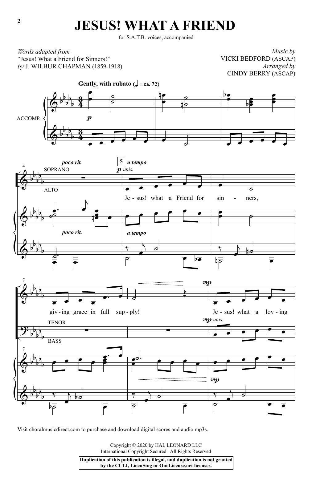 Jesus! What A Friend (arr. Cindy Berry) (SATB Choir)