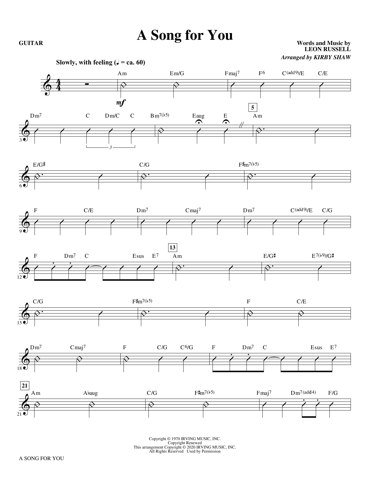 A Song for You (arr. Kirby Shaw) - Guitar Sheet Music