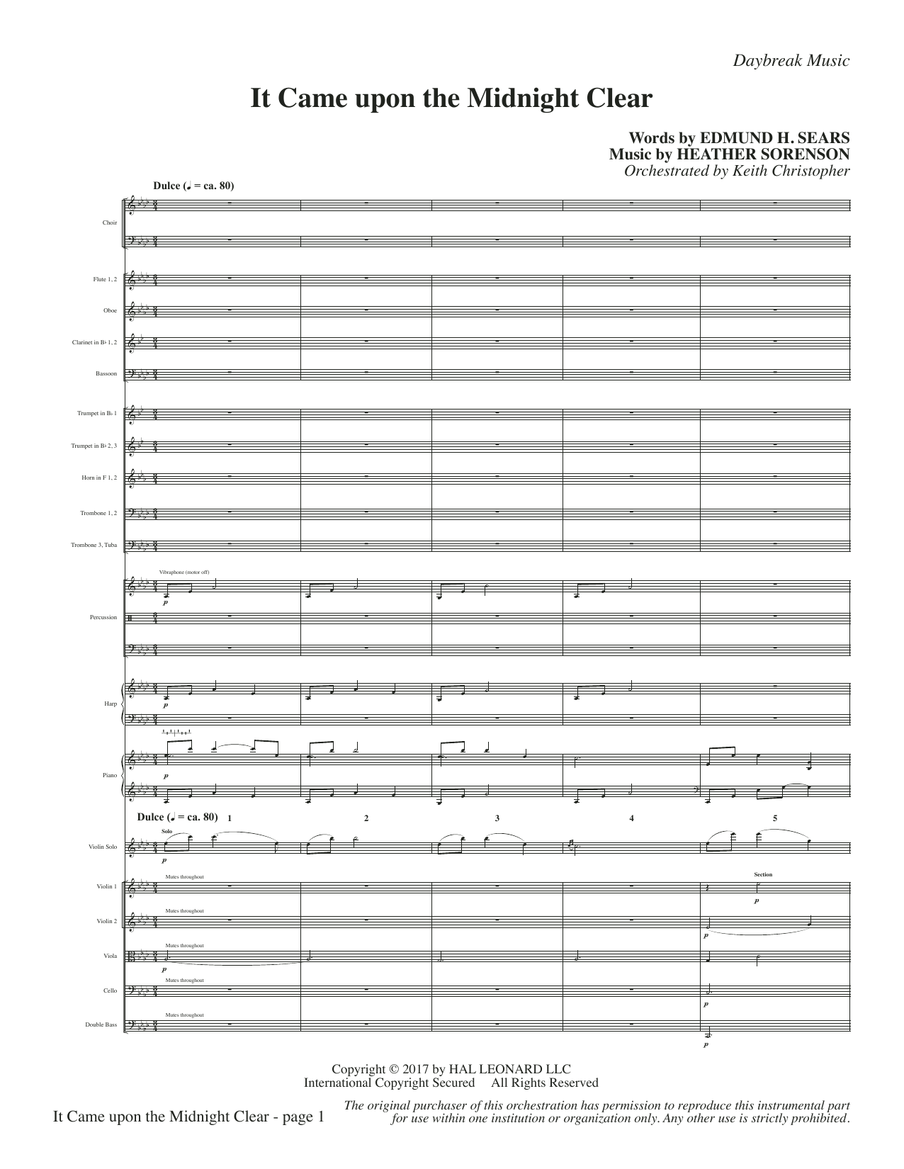 It Came Upon a Midnight Clear - Full Score Sheet Music