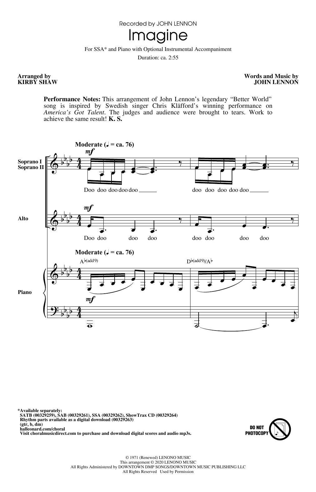 Imagine (arr. Kirby Shaw) Sheet Music