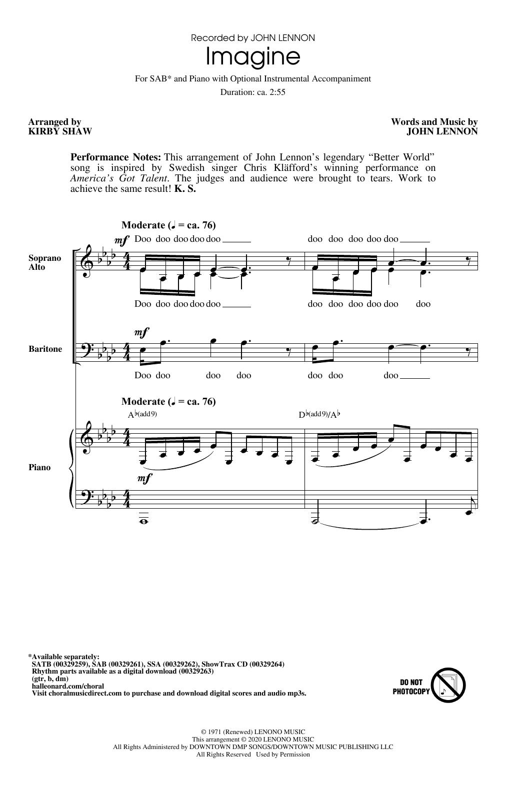 Imagine (arr. Kirby Shaw) (SAB Choir)