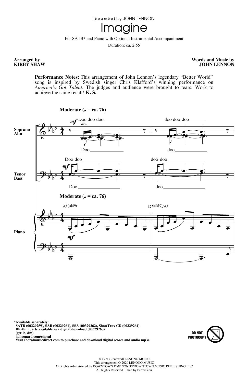 Imagine (arr. Kirby Shaw) (SATB Choir)