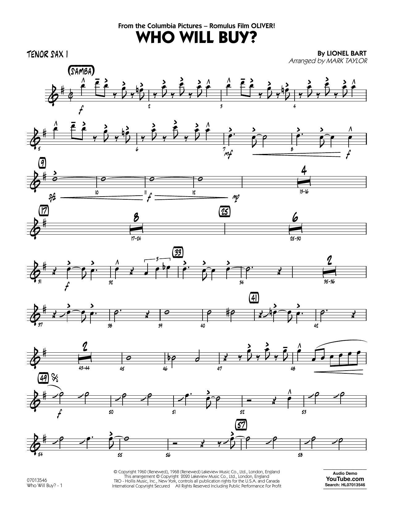Who Will Buy? (from Oliver) (arr. Mark Taylor) - Tenor Sax 1 Sheet Music