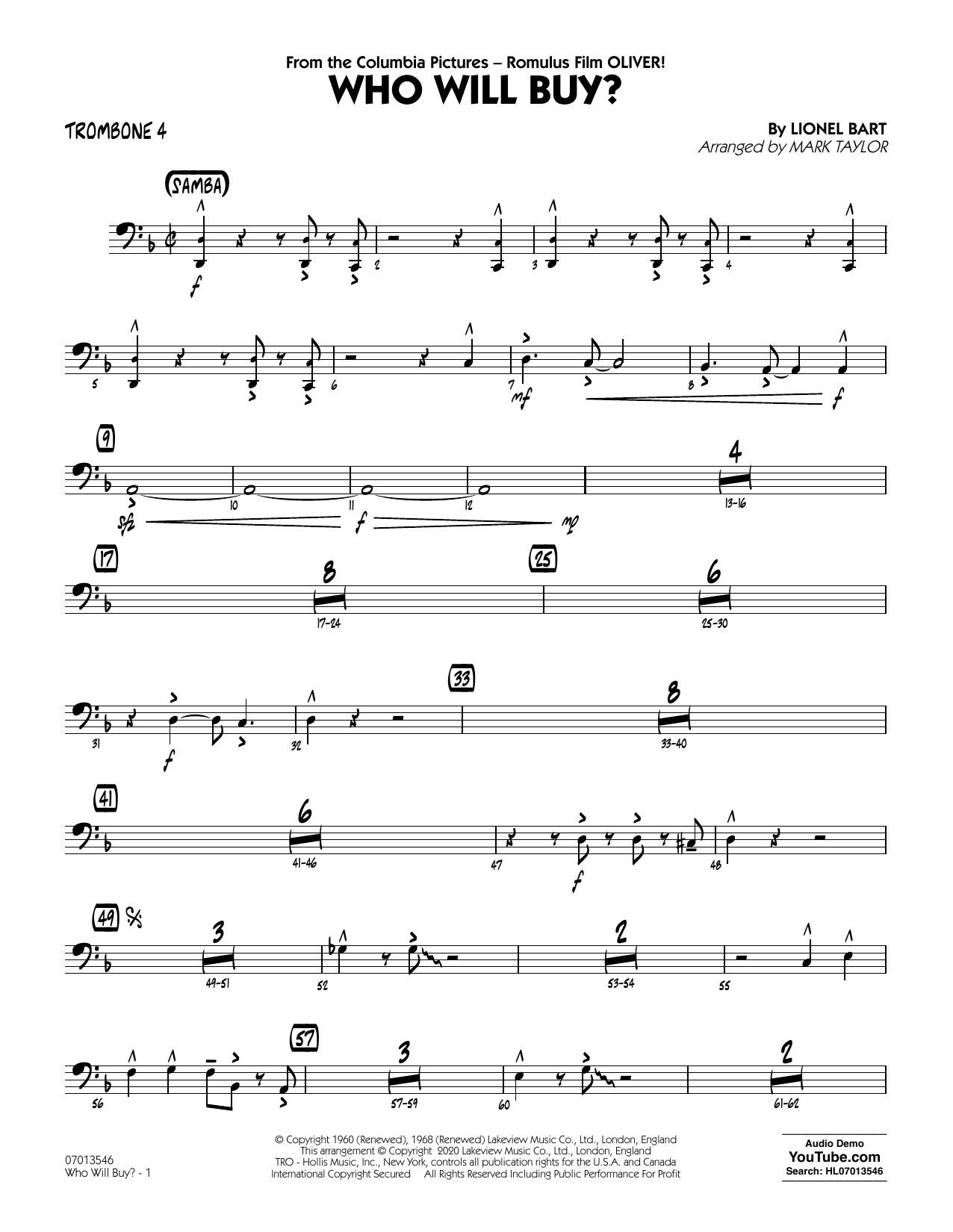 Who Will Buy? (from Oliver) (arr. Mark Taylor) - Trombone 4 Sheet Music