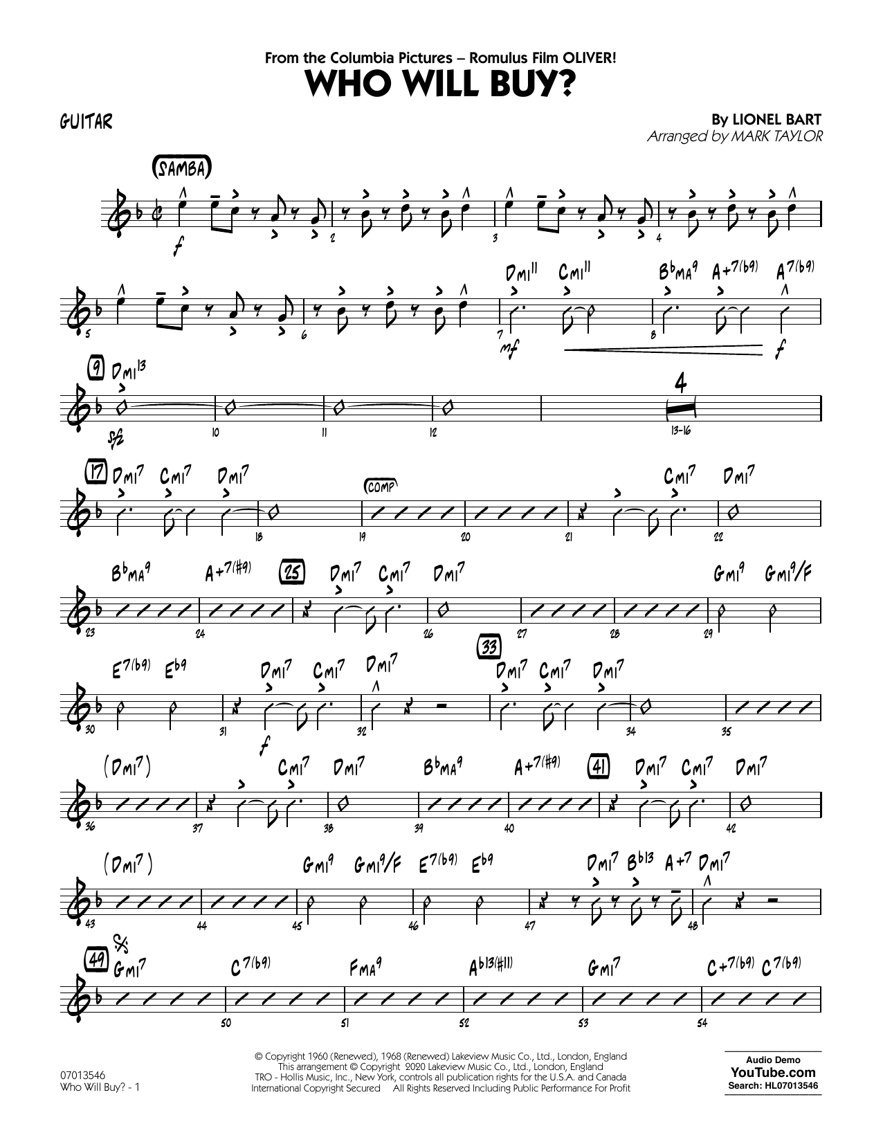 Who Will Buy? (from Oliver) (arr. Mark Taylor) - Guitar Sheet Music