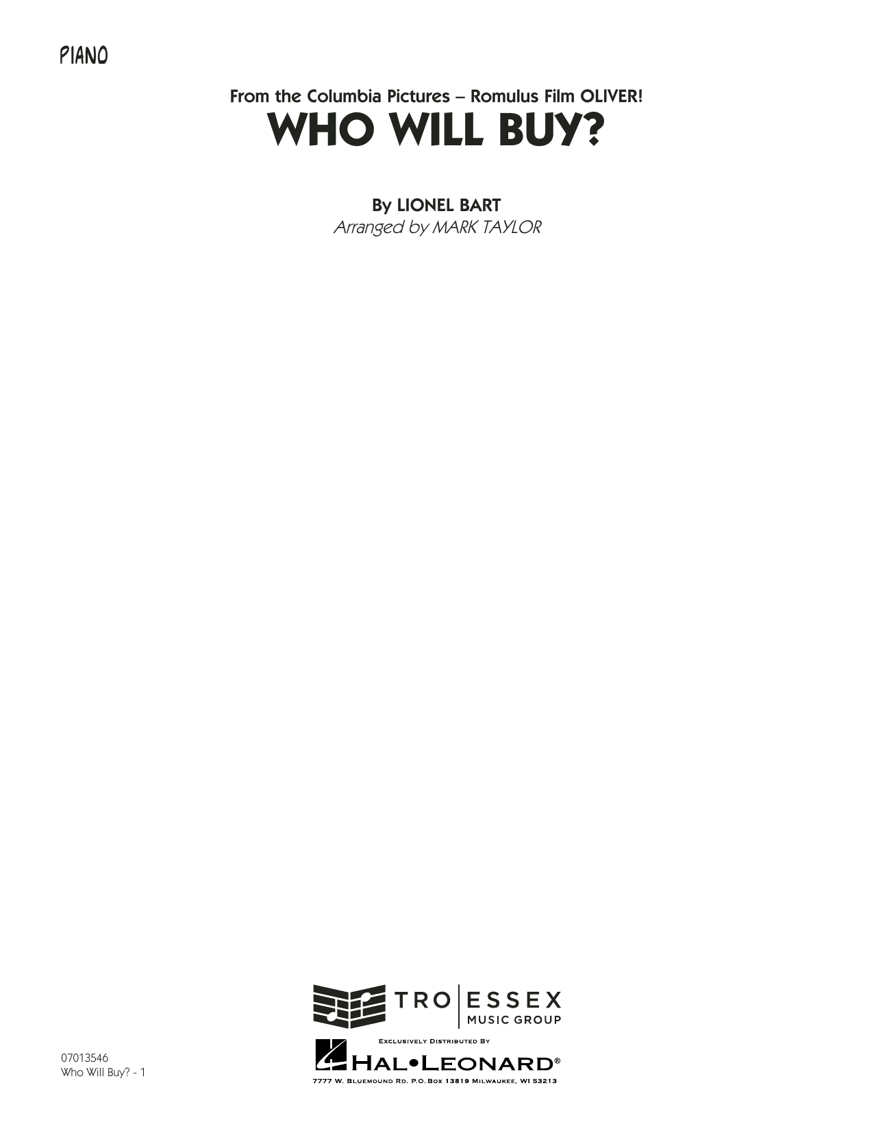 Who Will Buy? (from Oliver) (arr. Mark Taylor) - Piano Sheet Music