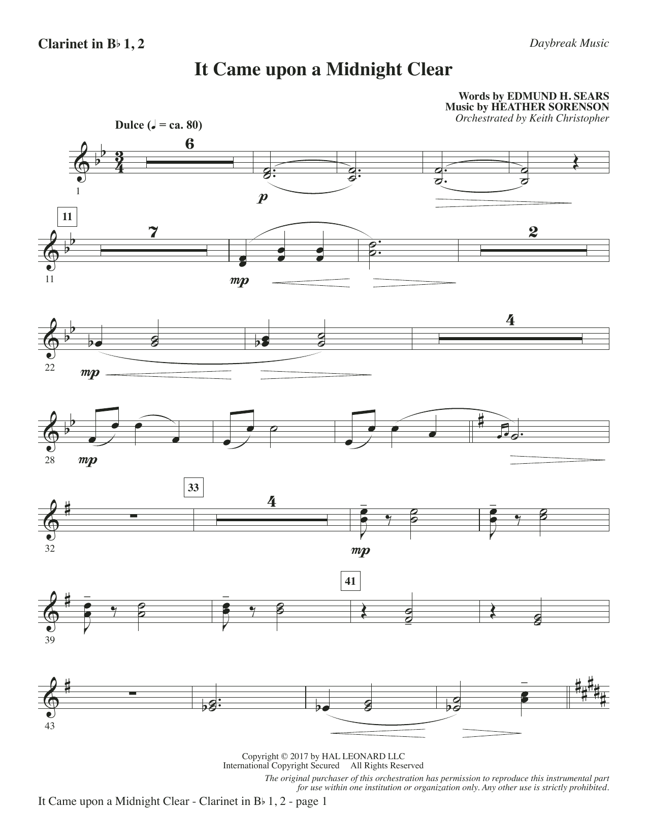 It Came Upon a Midnight Clear - Bb Clarinet 1 & 2 Sheet Music