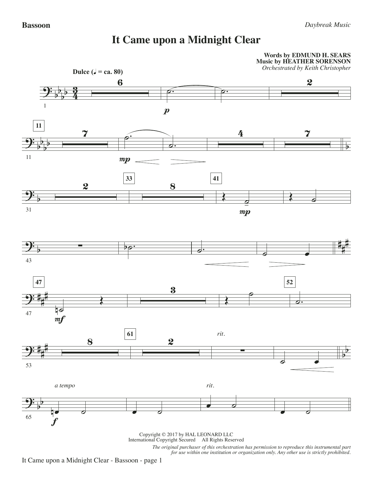 It Came Upon a Midnight Clear - Bassoon Sheet Music