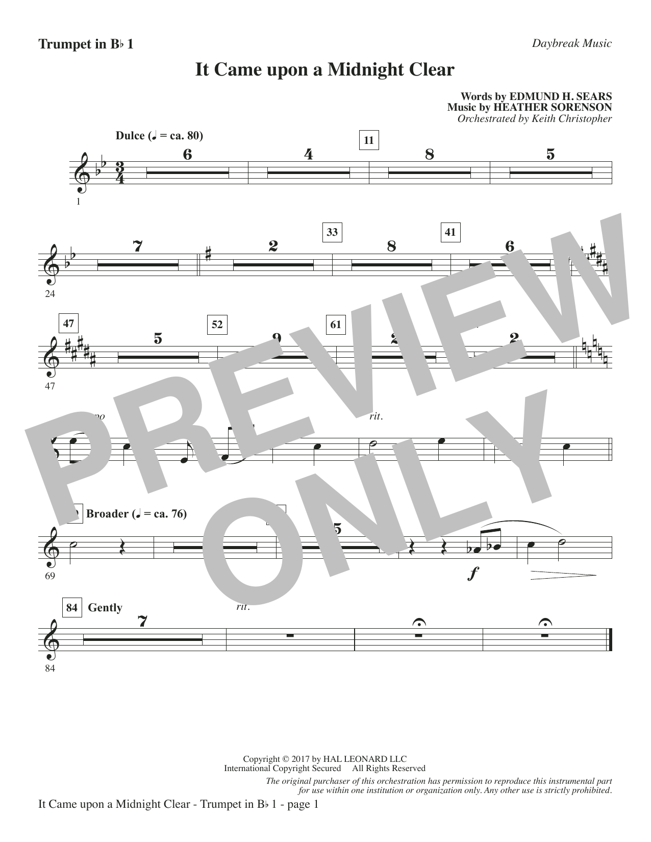 It Came Upon a Midnight Clear - Bb Trumpet 1 Sheet Music