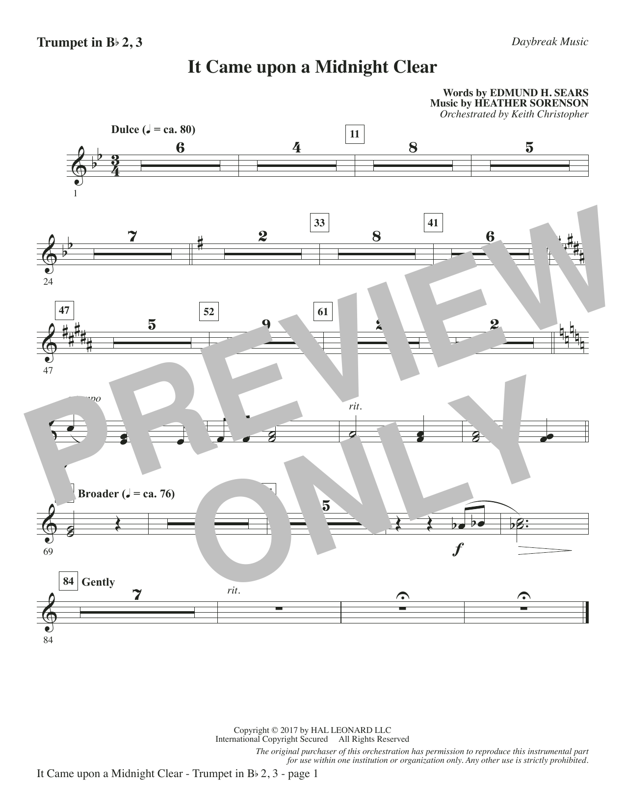 It Came Upon a Midnight Clear - Bb Trumpet 2,3 Sheet Music