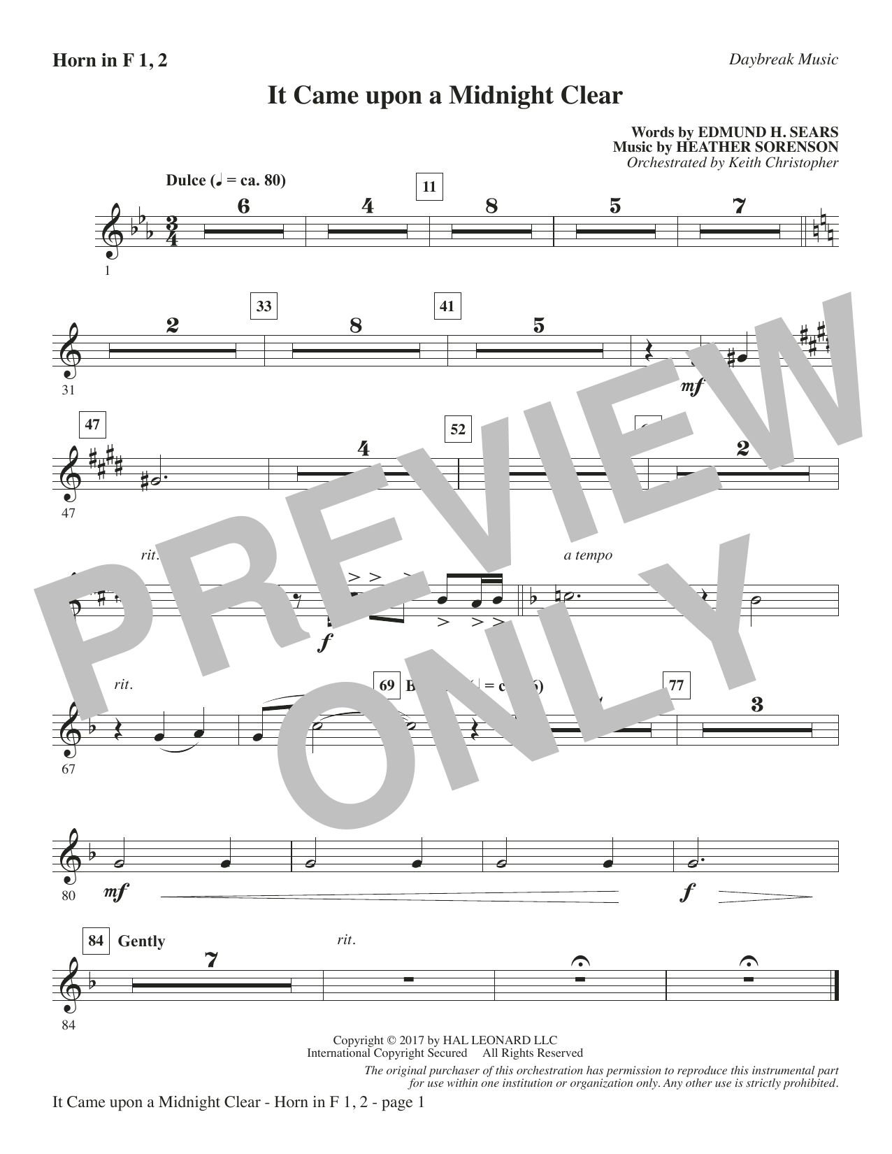 It Came Upon a Midnight Clear - F Horn 1 & 2 Sheet Music