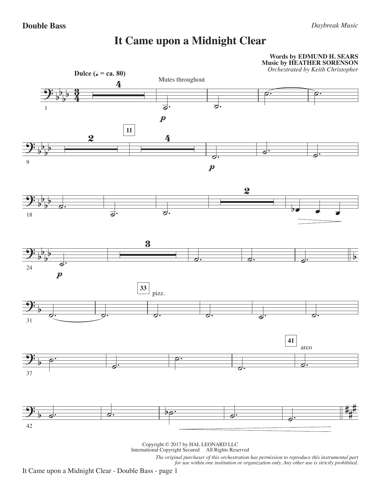 It Came Upon a Midnight Clear - Double Bass Sheet Music