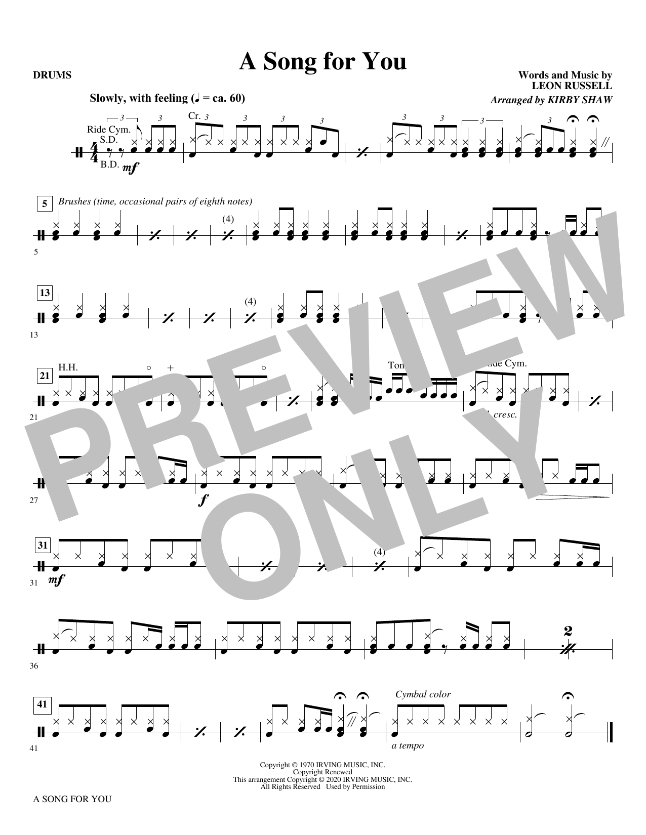 A Song for You (arr. Kirby Shaw) - Drums Sheet Music