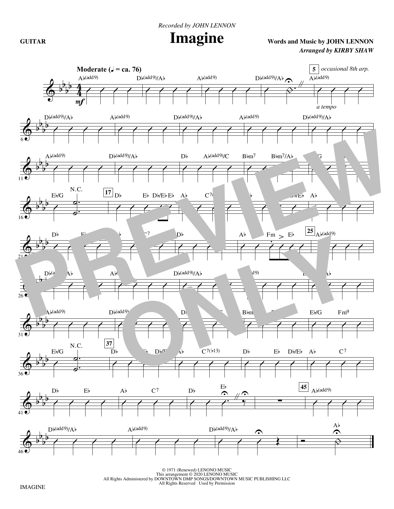 Imagine (arr. Kirby Shaw) - Guitar Sheet Music