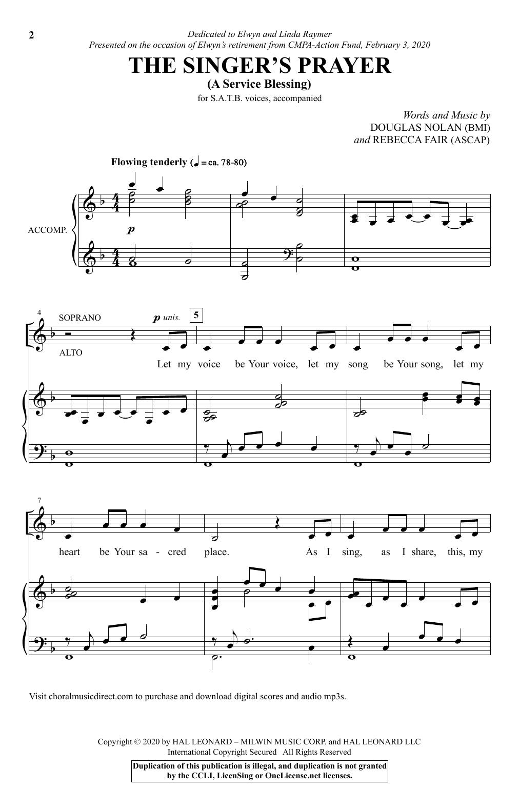 The Singer's Prayer (arr. Douglas Nolan) (SATB Choir)