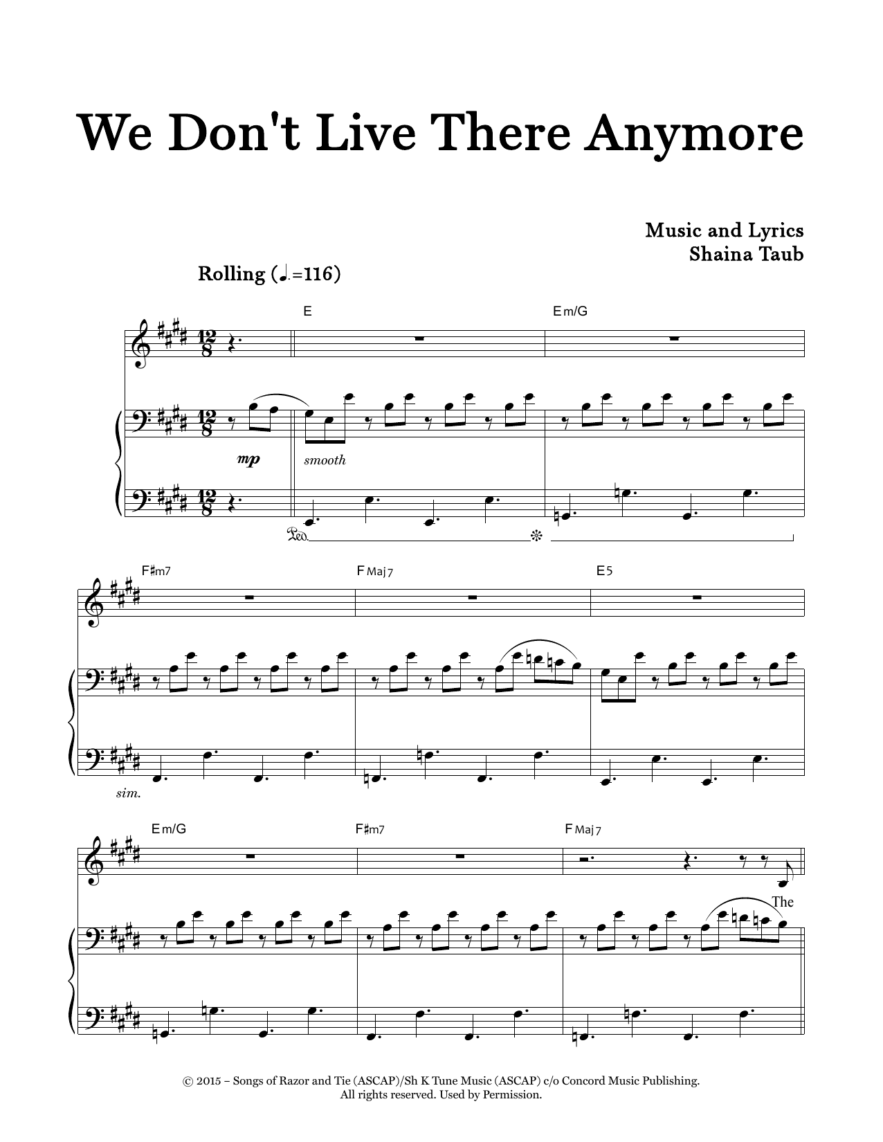 We Don't Live There Anymore (Piano & Vocal)