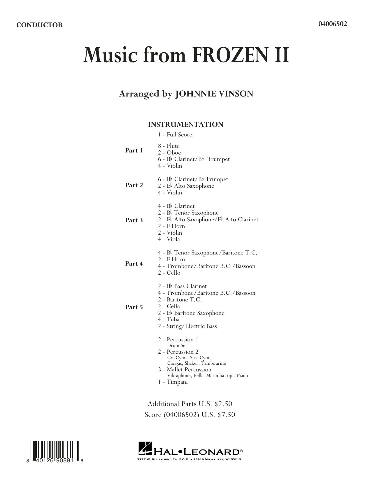 Music from Disney's Frozen 2 (arr. Johnnie Vinson) - Conductor Score (Full Score) Sheet Music