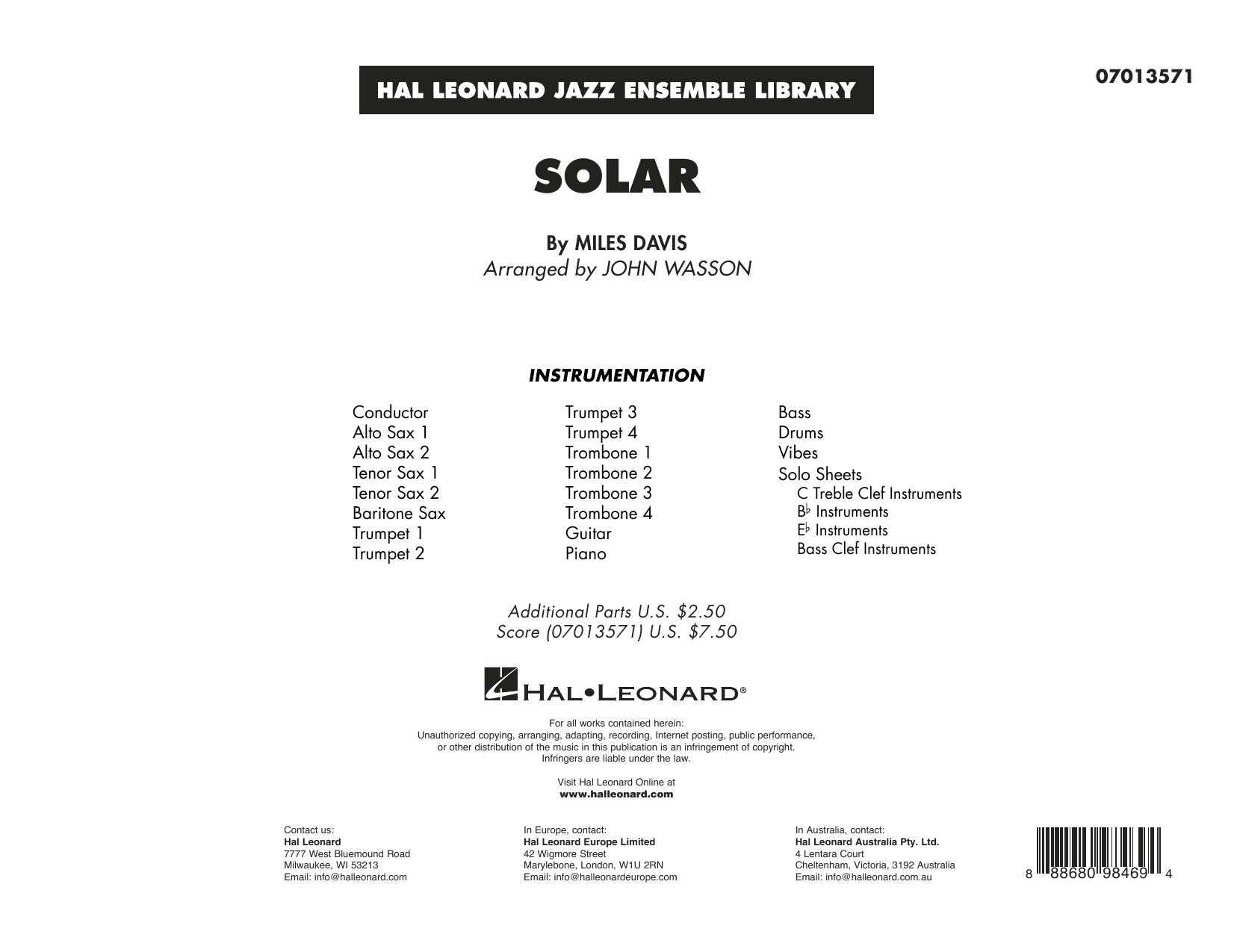 Solar (arr. John Wasson) - Conductor Score (Full Score) Sheet Music