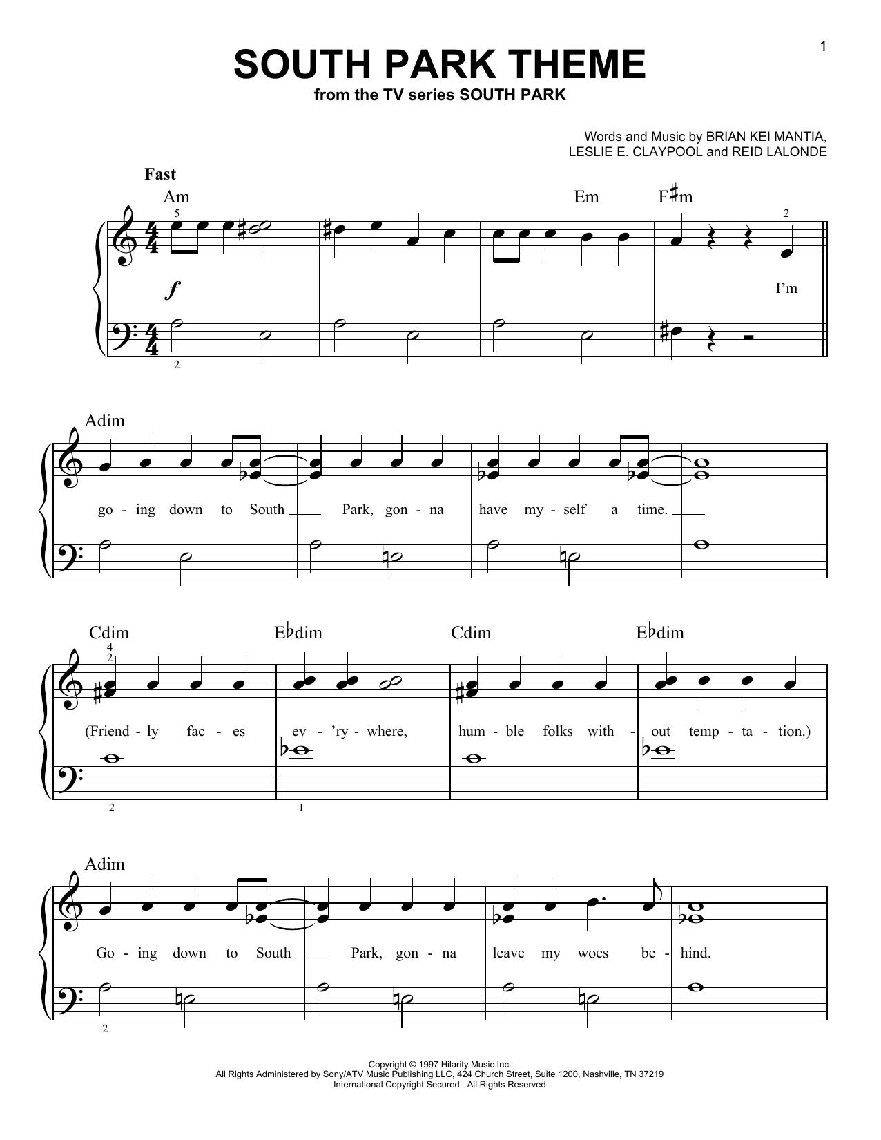 South Park Theme (Very Easy Piano)