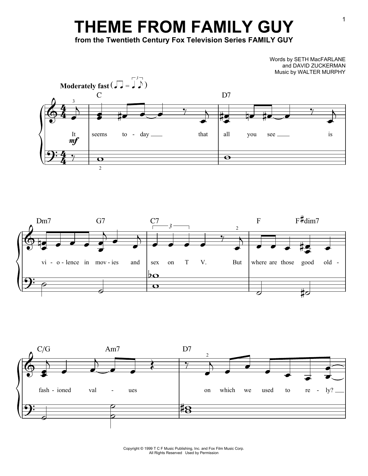Theme From Family Guy (Very Easy Piano)