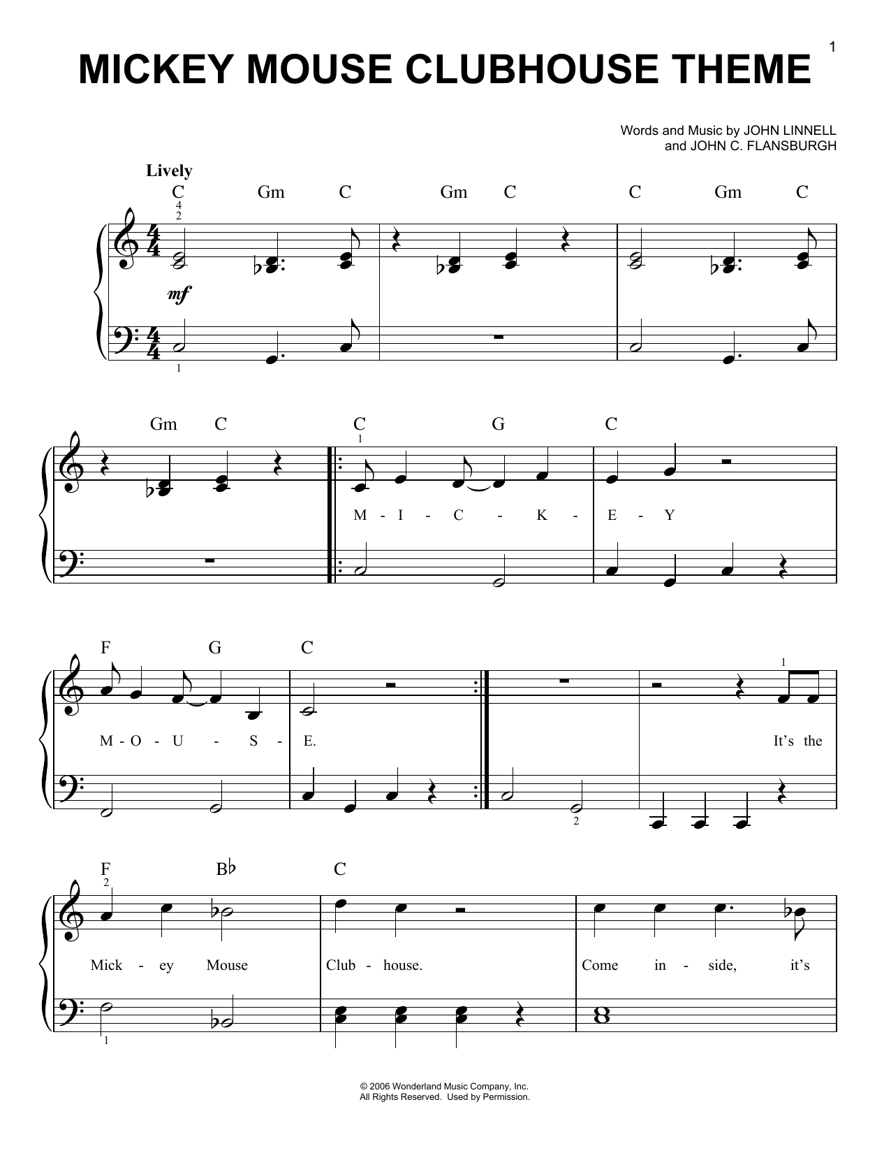 Mickey Mouse Clubhouse Theme (Very Easy Piano)