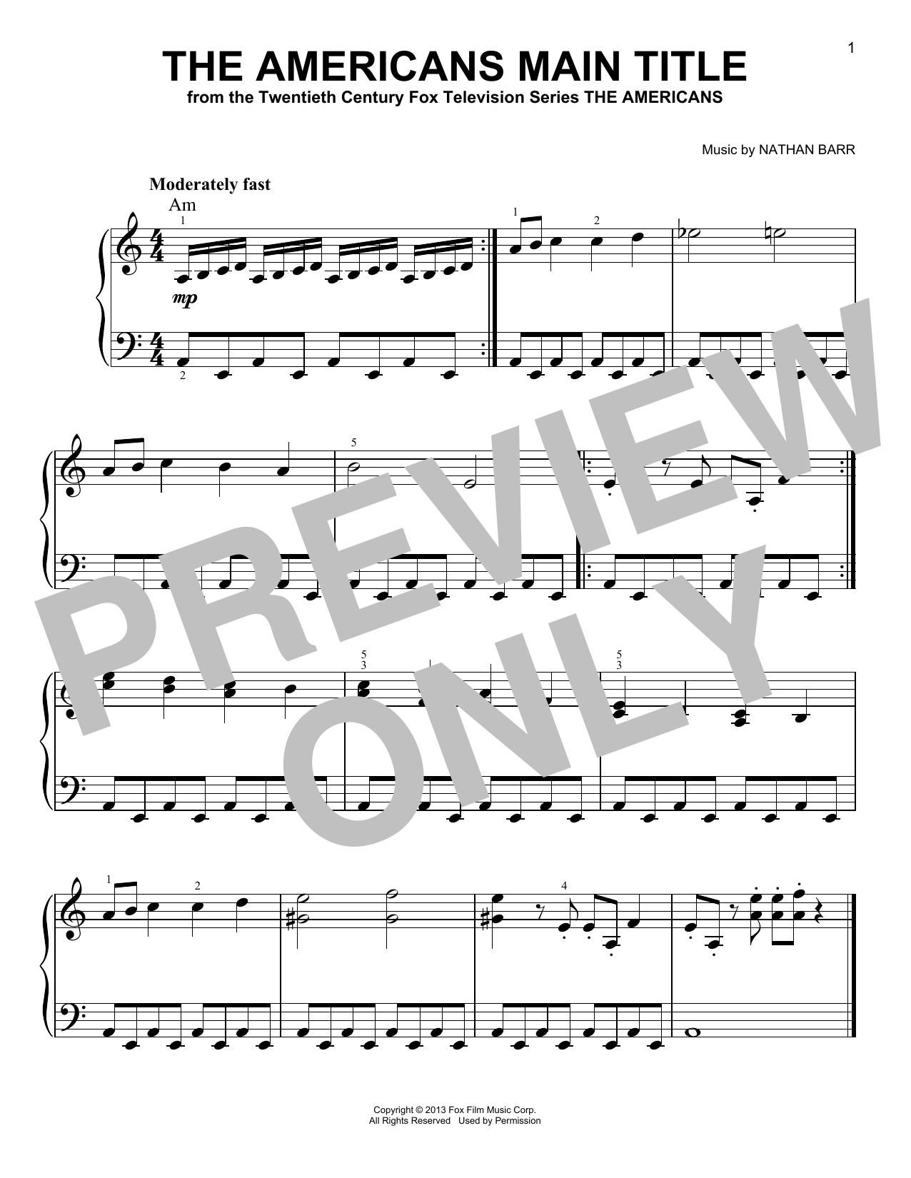 The Americans Main Title (Very Easy Piano)